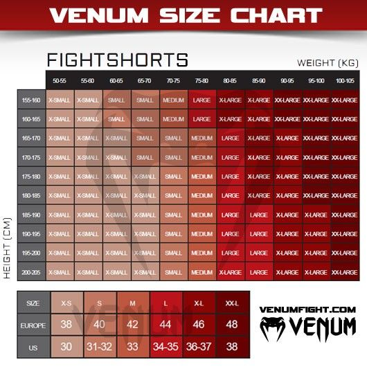 Venum MMA Broekjes/Fight Shorts - Maattabel