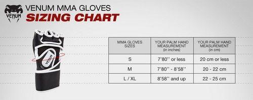 Venum MMA Handschoenen - Maattabel